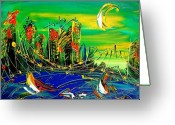 Leaned Greeting Cards Greeting Cards - Cityscape Greeting Card by Mark Kazav