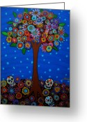 Cartera Greeting Cards - Day Of The Dead Greeting Card by Pristine Cartera Turkus