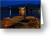 Boat Greeting Cards - Island of San Giulio Greeting Card by Joana Kruse