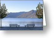Benches Photo Greeting Cards - Lake Maggiore Greeting Card by Joana Kruse