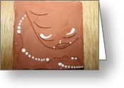 Africa Tiles Ceramics Greeting Cards - Mama - tile Greeting Card by Gloria Ssali