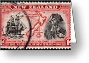 James Hill Greeting Cards - old New Zealand postage stamp Greeting Card by James Hill