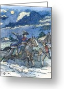 Paul Revere Greeting Cards - Paul Reveres Ride Greeting Card by Granger