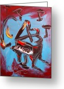 Leaned Greeting Cards Greeting Cards - Piano Greeting Card by Mark Kazav