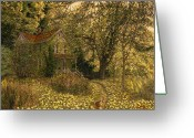 Abandoned House Painting Greeting Cards - Primrose Path Greeting Card by Doug Kreuger