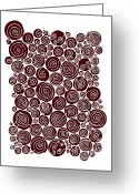 Contemporary Drawings Greeting Cards - Red Abstract Greeting Card by Frank Tschakert