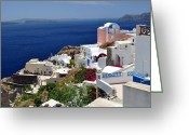 Vacation Destination Greeting Cards - Santorini Island. Greeting Card by Fernando Barozza