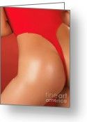 Wear Greeting Cards - Sexy Young Woman in High Cut Swimsuit Greeting Card by Oleksiy Maksymenko