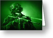Helmet Greeting Cards - Special Operations Forces Soldier Greeting Card by Tom Weber