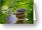 Green Leaves Greeting Cards - Stones Greeting Card by Kristin Kreet