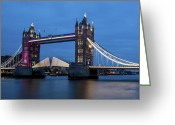Night Shots Greeting Cards - Tower Bridge Greeting Card by Dawn OConnor