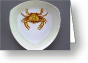 One Ceramics Greeting Cards - 866 2 Part of Crab Set 1 Greeting Card by Wilma Manhardt