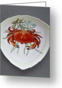 One Ceramics Greeting Cards - 866 6 Part of Crab Set  866  Greeting Card by Wilma Manhardt