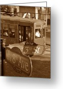 Trolley Greeting Cards - 8th Ave Trolley Greeting Card by David Lee Thompson
