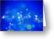 Glowing Star Greeting Cards - Abstract background Greeting Card by Les Cunliffe