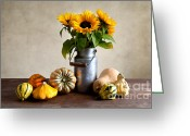 Stripe.paint Greeting Cards - Autumn Greeting Card by Nailia Schwarz