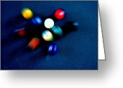 Pool Break Greeting Cards - 9 Ball Break Greeting Card by Nick Kloepping