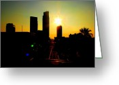 Cityscape Pyrography Greeting Cards - Cityscape Corpus Christi Texas  Greeting Card by James E Hoehne