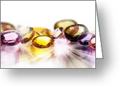 Facet Jewelry Greeting Cards - Colorful Gems Greeting Card by Setsiri Silapasuwanchai