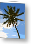 Tropical Island Greeting Cards - Digital Art Palm series  Greeting Card by Pierre Leclerc