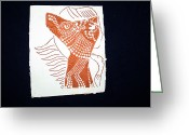 Africa Tiles Ceramics Greeting Cards - Guardian Angel Greeting Card by Gloria Ssali