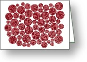 Abstract Contemporary Art Greeting Cards - Red Abstract Greeting Card by Frank Tschakert
