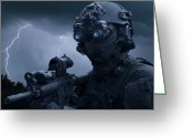 Head And Shoulders Greeting Cards - Special Operations Forces Soldier Greeting Card by Tom Weber