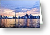 Sunset Greeting Cards - Toronto skyline Greeting Card by Elena Elisseeva