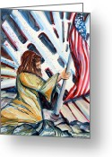 Flag Drawings Greeting Cards - 911 Cries for Jesus Greeting Card by Mindy Newman