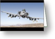 Air Digital Art Greeting Cards - A-10 Thunderbolt II Greeting Card by Larry McManus