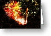 Fireworks Painting Greeting Cards - A 4TH Celebration  Greeting Card by Adam Vance