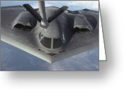 Bombers Greeting Cards - A B-2 Spirit Bomber Prepares To Refuel Greeting Card by Stocktrek Images