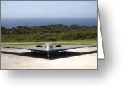 Bombers Greeting Cards - A B-2 Spirit Stealth Bomber Waits Greeting Card by Stocktrek Images
