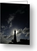 Southern States Greeting Cards - A Backlit View Of A Lighthouse Built Greeting Card by Raul Touzon