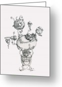 Drawings Drawings Greeting Cards - A Balancing Act Greeting Card by Philip and Monica Straub