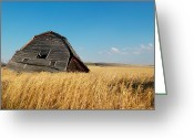 Wooden Barns Greeting Cards - A Barn Slowly Crumbles In A Prairie Greeting Card by Pete Ryan