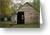 Structures Greeting Cards - A Barn With An Open Door On Waveland Greeting Card by Joel Sartore