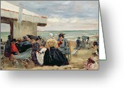 Pram Greeting Cards - A Beach Scene Greeting Card by Eugene Louis Boudin