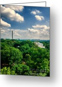 Arlington Memorial Bridge Greeting Cards - A Beautiful Day in DC Greeting Card by Jim Moore