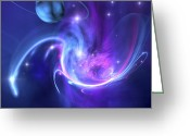 Twinkle Greeting Cards - A Beautiful Nebula And A Ringed Planet Greeting Card by Corey Ford