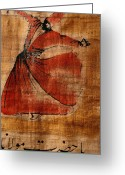 Fabric Greeting Cards - A Beautiful Painting Of A Whirling Greeting Card by Gianluca Colla