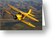 Airplane Greeting Cards - A Beechcraft D-17 Staggerwing In Flight Greeting Card by Scott Germain