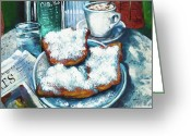 Donuts Greeting Cards - A Beignet Morning Greeting Card by Dianne Parks