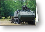 Belgian Army Greeting Cards - A Belgian Army Piranha Iiic With The Fn Greeting Card by Luc De Jaeger