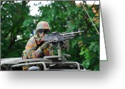 Belgian Army Greeting Cards - A Belgian Army Soldier Handling Greeting Card by Luc De Jaeger