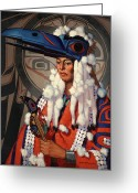 Native Portraits Greeting Cards - A Bellacoola Woman Wears A Raven Greeting Card by W. Langdon Kihn