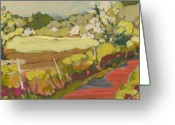 Air Painting Greeting Cards - A Bend in the Road Greeting Card by Jennifer Lommers