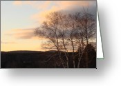 The Berkshires Greeting Cards - A Berkshire Sunset Greeting Card by Dahlia Tumavicus