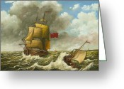Eric Bellis Greeting Cards - A Bilander and a Dutch Barge in Rough Seas Greeting Card by Eric Bellis