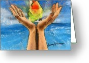 Canary Greeting Cards - A Bird in Two Hands Greeting Card by Anthony Caruso